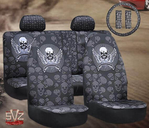 Universal car seat covers styling skull.