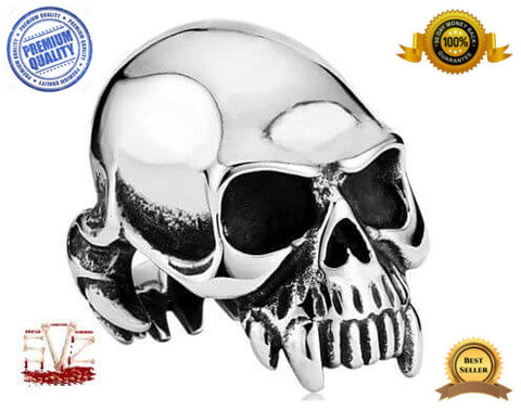 Almost FREE - Vampire skull stainless steel ring - 7 sizes - 3 colors