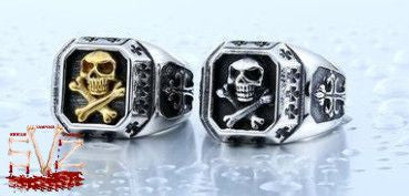 Skull Bones and Cross Titanium Ring