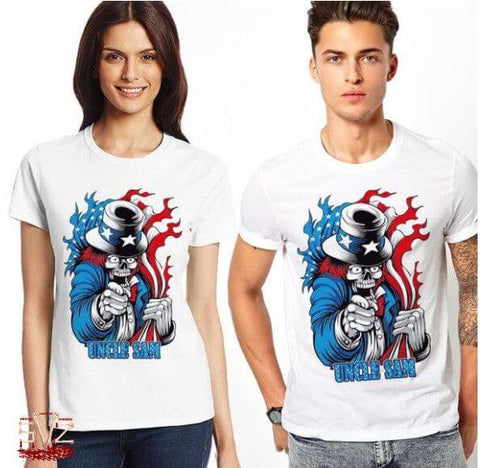 T-shirt Design Skull Uncle Sam Unisex