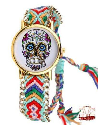 Lady wrist watch with sugar skull in wool bracelet - 4 colors