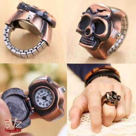 Vintage finger skull ring watch