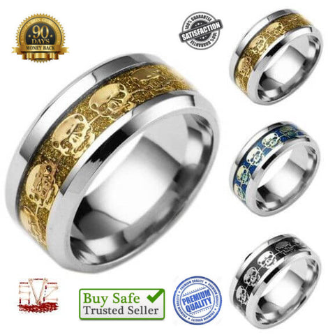 Fashion stainless steel skull ring - 8 sizes - 3 colors