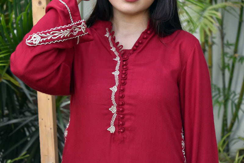 Criss Cross kurta - Red