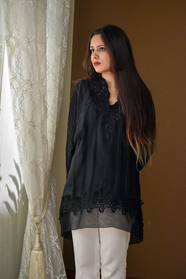 Ebony - Black Pleated tunic