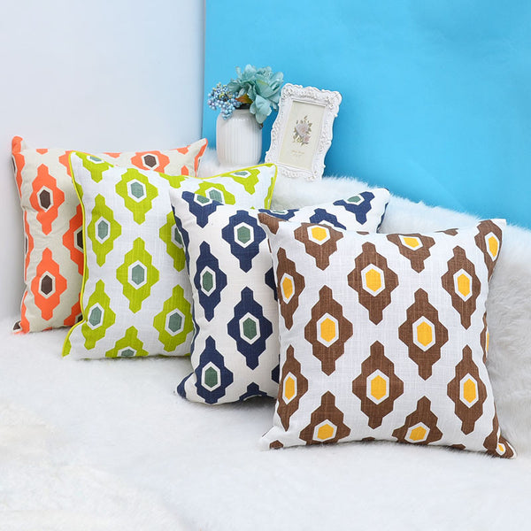 Natural linen geometric design throw pillow cushion cover