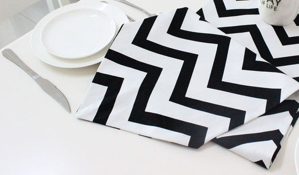 100% cotton canvas black chevron table runners
