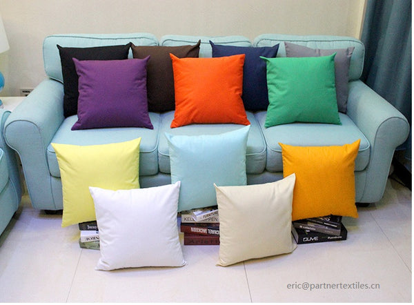 Plain dyed white cotton canvas pillow & cushion cover