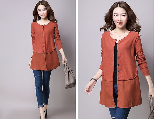 2016 fashion light brown women cardigan knitwear