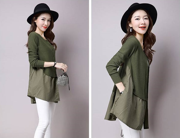 olive green ladies fashion cardigan knitwear
