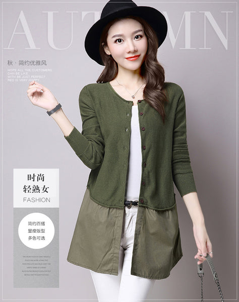 fashion ladies olive spring knitwear coat