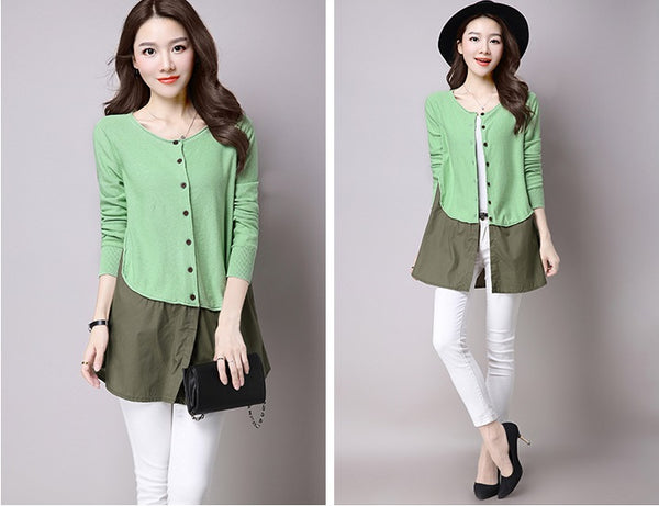 light green patchwork women fashion cardigan sweater