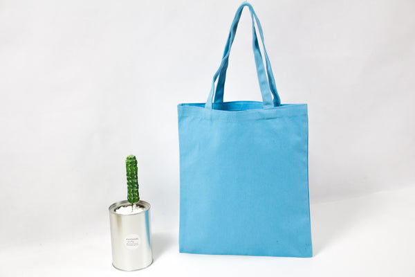 sky blue plain cotton canvas totes bag