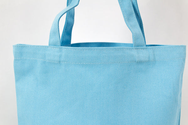sky blue cotton canvas totes bag hand bag