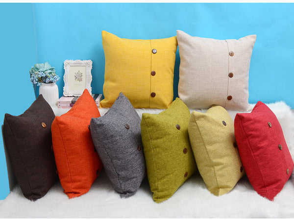 18x18 inches bottom style plain color linen sofa decorative throw pillow cushion cover