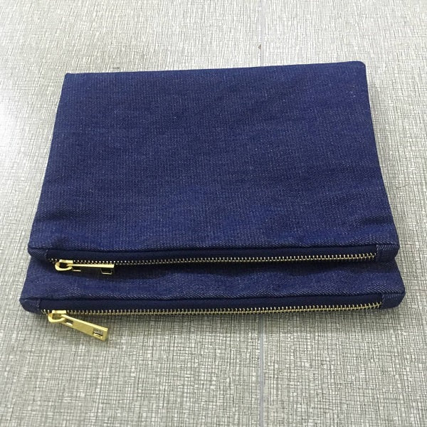 blank denim cosmetic bag plain makeup bag clutch bag with gold metal zip closure