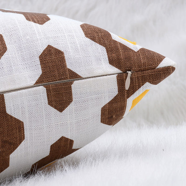 natural linen geometric printed throw cushion cover