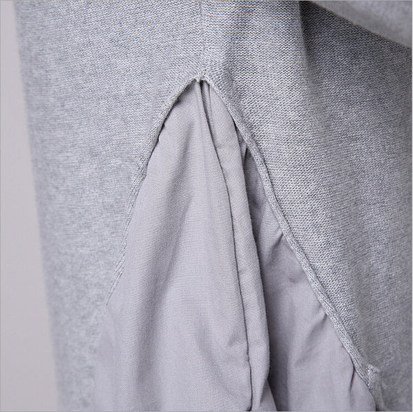 Patchwork cotton wool grey cardigan knitwear