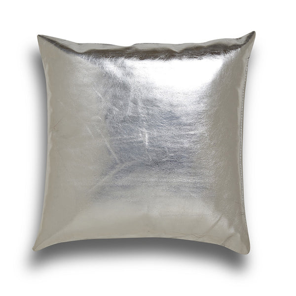 Silver metallic leather pillow cushion cover