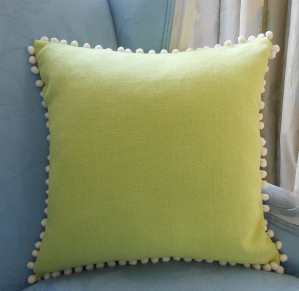pom pom plain cotton canvas cushion cover