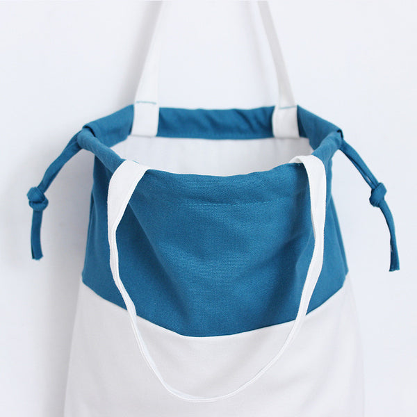 Teal & white cotton canvas totes bag shoulder bag