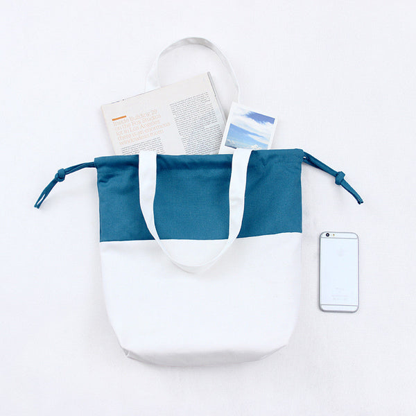 Teal & white cotton canvas totes bag
