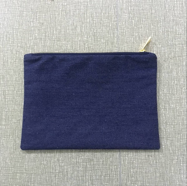 blank denim makeup bag plain cotton denim cosmetic bag