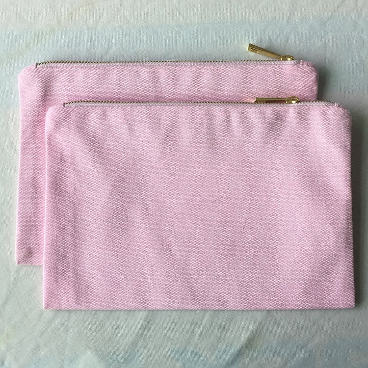 Light pink canvas makeup pouch blank cosmetic bag for DIY vinyl craft