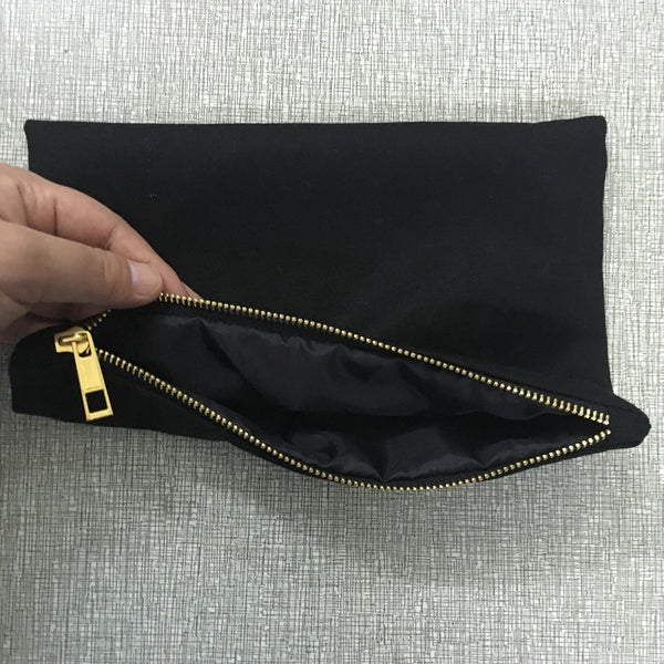 Black cotton cosmetic bag makeup bag