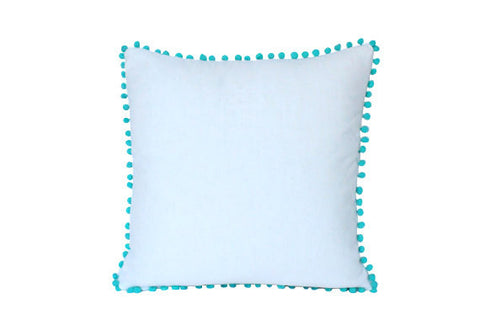 Pom pom fringe plain cotton canvas pillow cushion cover