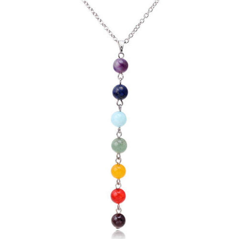 7 chakra stone pendant necklace silver lining jewelry shop 7 chakra stone pendant necklace aloadofball Images