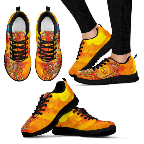 Peace and Love black Women's Sneakers