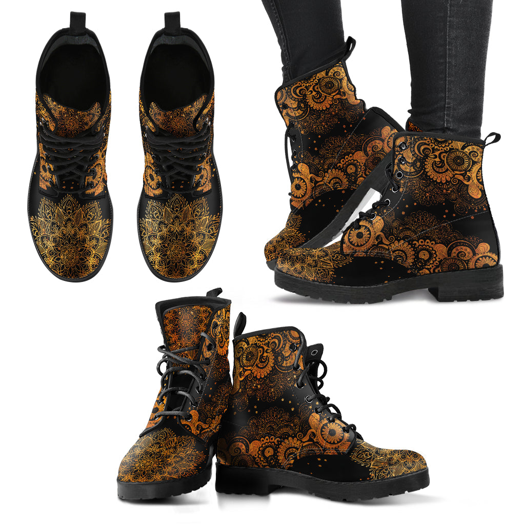 Rusty Gold Paisley Mandala Handcrafted Boots