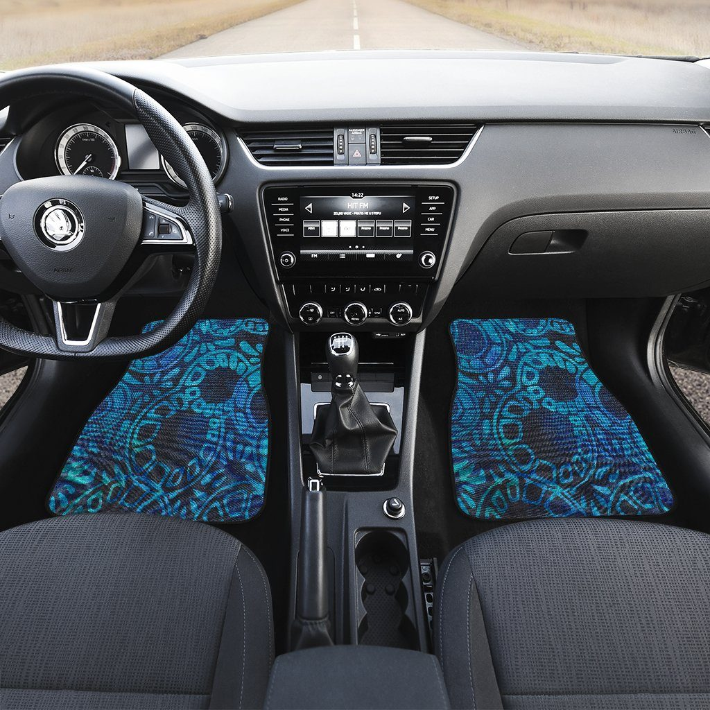 Cool Blue Batik Front Car Mats