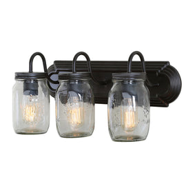 LNC Glass Jar Wall Sconces 3-Light Wall Lamp Sconces wall Lighting Use E26 Bulb