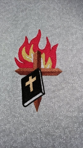 Bible Cross and Flame