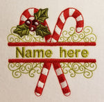 Candy Cane Split Name 5 x 5