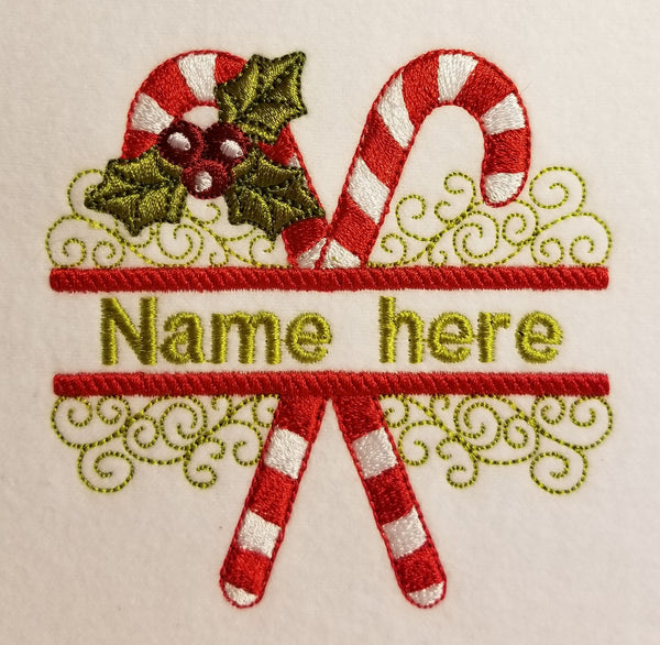 Candy Cane Split Name 8 x 8