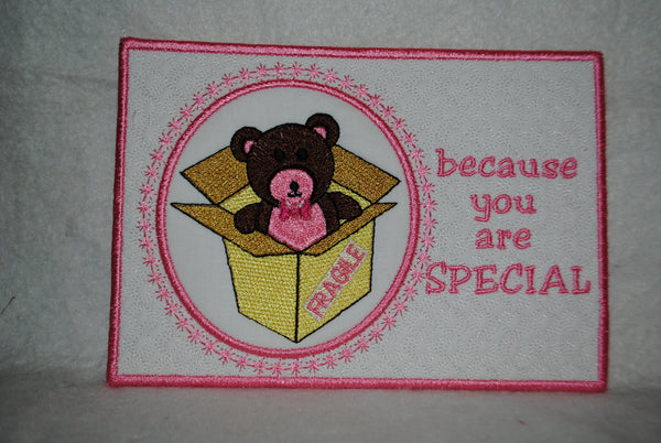Teddy Bear Fragile Package Card  5 x 7