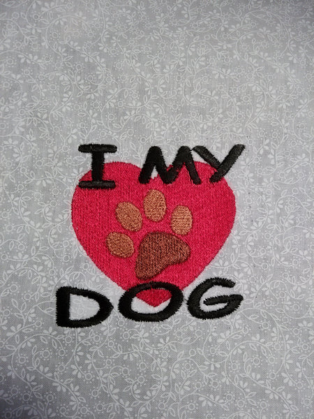 I love my dog with Paw Print inside heart