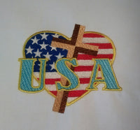 USA Heart Flag and Cross