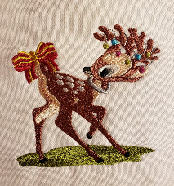 Christmas Deer with Ribbon 4 x 4