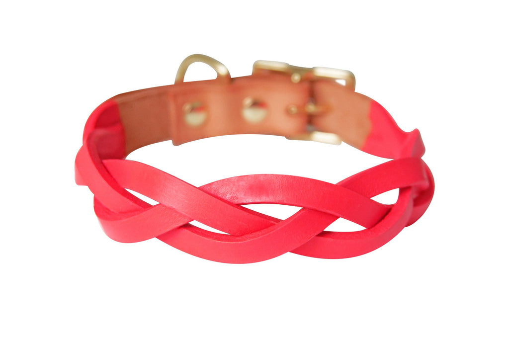 Infrared Colorblock Braided Leather Collar