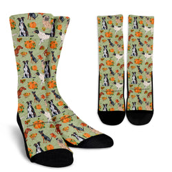 Crew Socks - Dogs In Pumpkin Patch