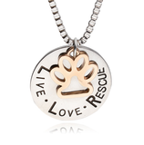 Engraved Dog Rescue Pendant Necklace