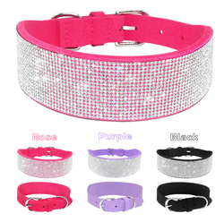 Rhinestone and Suede Leather Dog Collar
