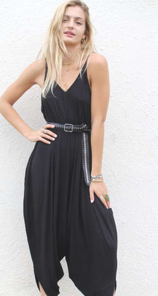 Black Yoga Knit Jumpsuit with Pockets