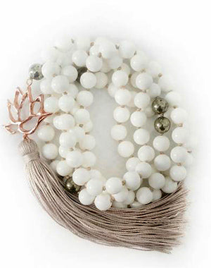 White Shell & Pyrite True Self Lotus Goddess Mala - a KinoYoga Capsule - by Open Heart Warrior