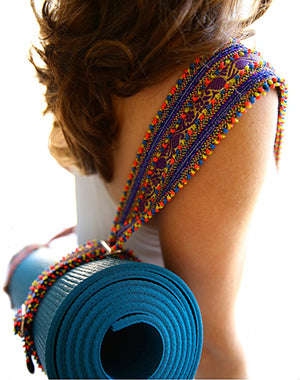 Hand Appliqued Ribbon Yoga Mat Sling by Soulie