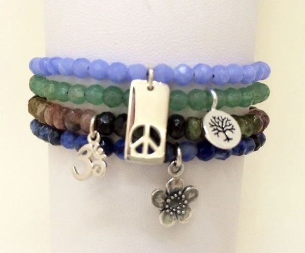 Tiny Gemstone Stacking Bracelets by Omisha Designs ( Silver Set )